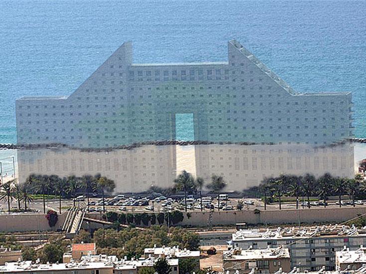 הלוואי שתהיה תחפושת כזאת: מגדלי חוף הכרמל, שחסמו לחיפאים את הים, בתחפושת מעורטלת שחושפת אותו מחדש (הדמיה: לירן צ'צ'יק וניצן קלוש- KCH)