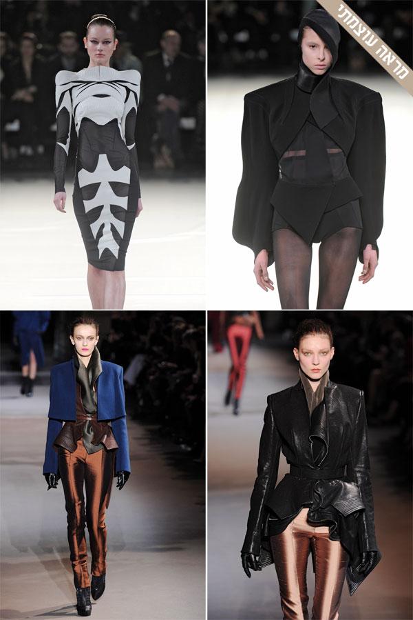 למעלה: תצוגת האופנה של מוגלר. למטה: קולקציית החורף הבא של היידר אקרמן (צילום: gettyimages)