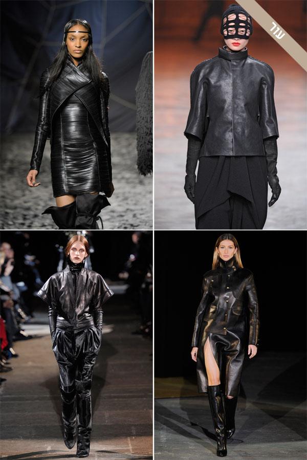 למעלה: תצוגות האופנה של ריק אוונס (מימין) וגארת' פיו. למטה: הקולקציות של אלכסנדר וואנג (מימין) וז'יבנשי (צילום: gettyimages)