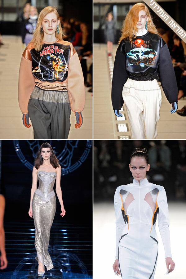 למעלה: הקולקציה של בלנסיאגה. למטה: תצוגות האופנה של מוגלר (מימין) ו-ורסאצ'ה (צילום: gettyimages)