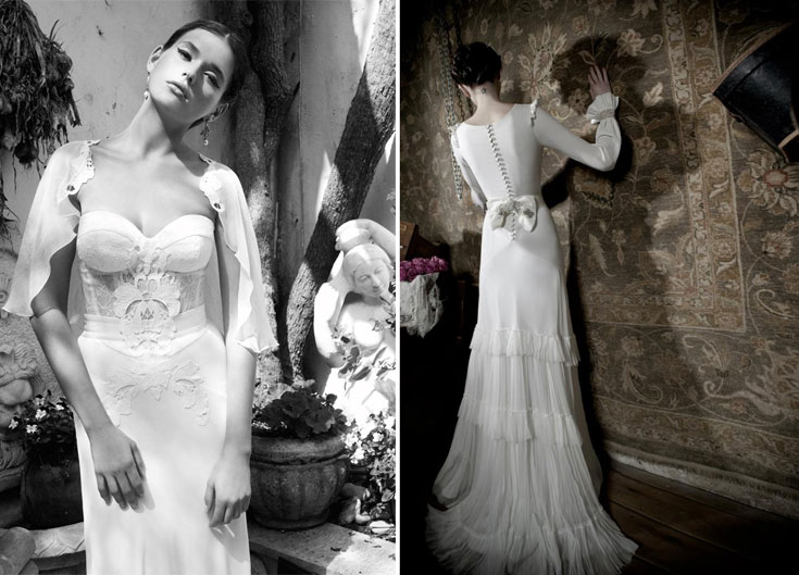 שמלות הכלה של ליהי הוד (מימין) וגולדי סרוסי. עיצובים עדכניים שיתאימו לחובבות אופנה שלא רוצות לוותר על סגנונן האישי גם מתחת לחופה (צילום: אלון שפרנסקי, גיא כושי)