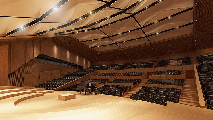 כך ייראה אולם הקונצרטים אחרי השיפוץ: 250 מושבים יוסרו, התקרה מוחלפת (על הוויכוח - בכתבה) ובכל 6 שורות מתבצעת הגבהה (הדמיה: טוטם, באדיבות קולקר קולקר אפשטיין אדריכלים)