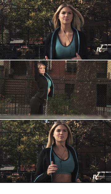 תמונות מסרטון הפרסומת בכיכובה של קייט אפטון. הפטמות נפסלו לשידור