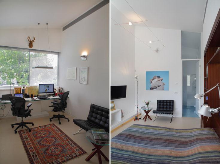 מימין: חדר השינה של ההורים, עם גופי תאורה בעיצוב אינגו מאואר. משמאל: חדר עבודה לשניים, שצמוד לחדר ההורים. ''בבית הזה אין שום דבר טרנדי'', אומרת האדריכלית קרן רובטרס. ''בית הוא מקום שאליו חוזרים ואין תחליף לאוסף תמונות ורהיטים שאוהבים'' (צילום: אמית הרמן)