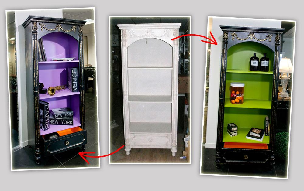 שתי גרסאות  לאותו  רהיט: שידה לבנה שנצבעה מבחוץ בשחור ומבפנים בשני צבעים שונים (צילום: בנימין אדם)