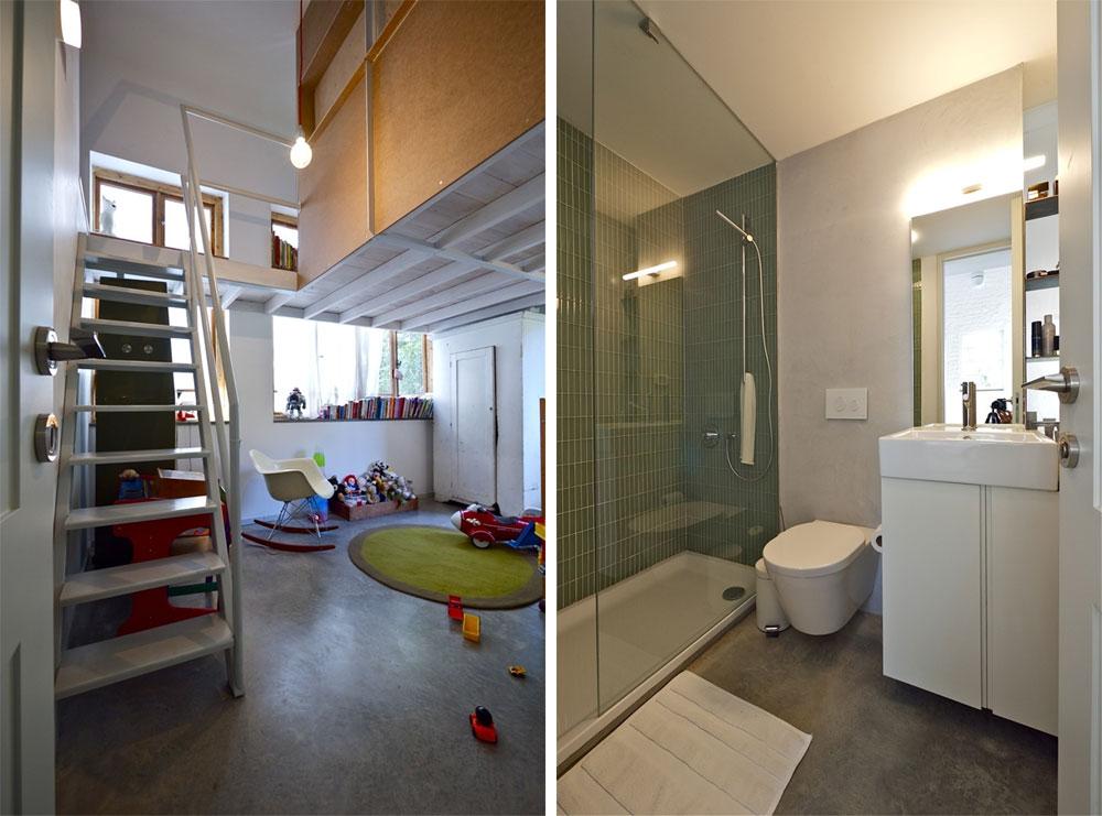 מימין: חדר הרחצה של ההורים - קטן אך עם מקלחון מרווח. משמאל: הכניסה לחדר שאותו חולקים שניים - למטה הבן הפעוט, ולמעלה בת ה-13, בגלריית עץ שנבנתה בזכות גובה החלל, על בסיס בוידעם ישן (צילום: איתי סיקולסקי)