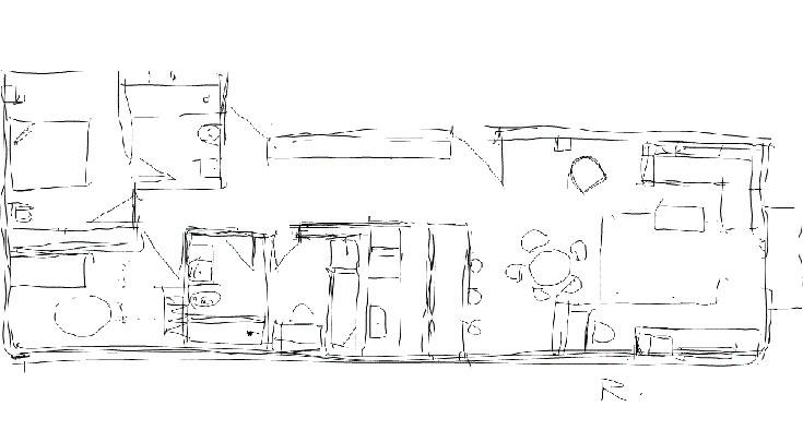 שרטוט הדירה, מימין לשמאל: הסלון, פינת האוכל, המטבח, חדרה של בת התשע, חדר הרחצה, חדרם של הפעוט ובת ה-13 - בשני מפלסים שמשתמשים במלוא גובה החלל - וחדר ההורים, עם חדר רחצה צמוד (באדיבות רפי אלבז)