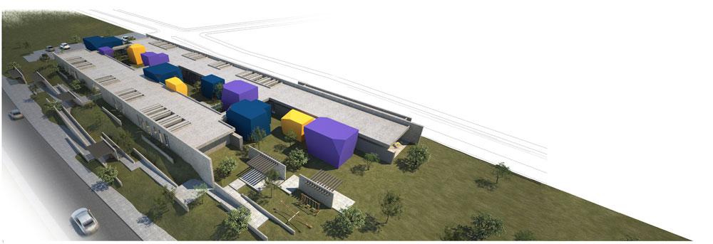 ההצעה של אנדרמן אדריכלים ודני רוזן. לאורך שתי חצרות מפוזרות פונקציות ציבוריות, עם מעטפת צבעונית (הדמיה: אנדרמן אדריכלים ואדריכל דני רוזן  )