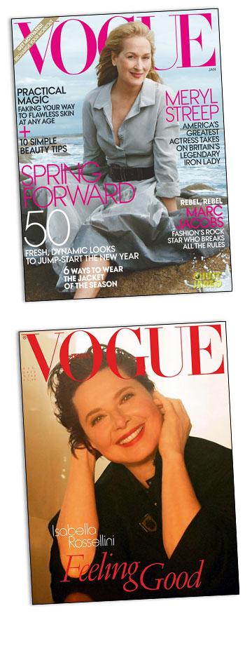 נשים מבוגרות על שערי ווג: מריל סטריפ על שער ווג האמריקאי ואיזבלה רוסליני על שער ווג האיטלקי