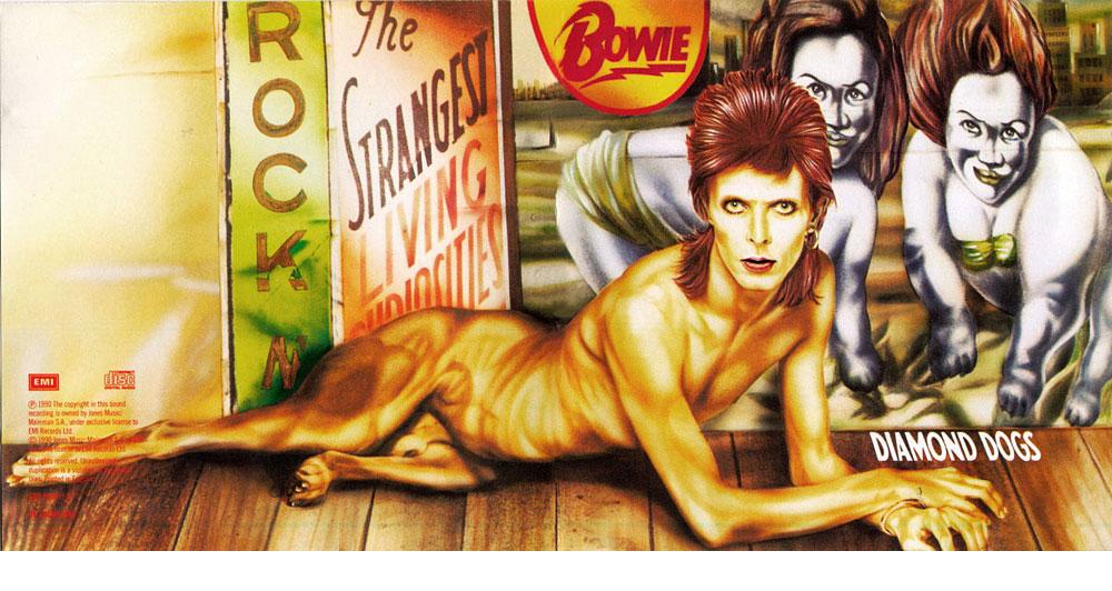 כאן היה צריך לצנזר אבר מין. העטיפה של Diamond Dogs, ציור של גיא פיילארט, זיעזעה את מי שצריך. זה לא מזיק לקידום מכירות
