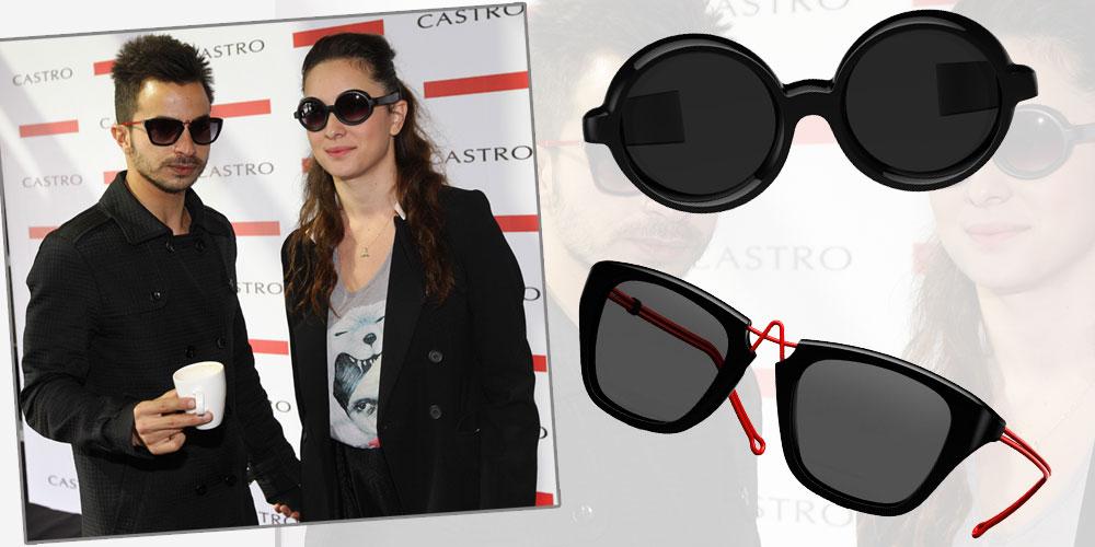 איתי תורג'מן ואנה ארונוב מתואמים עם משקפי השמש של PQ בעיצובו של האמן רון ארד (2,500 שקל למשקף של אנה, 3,000 לזה של איתי)