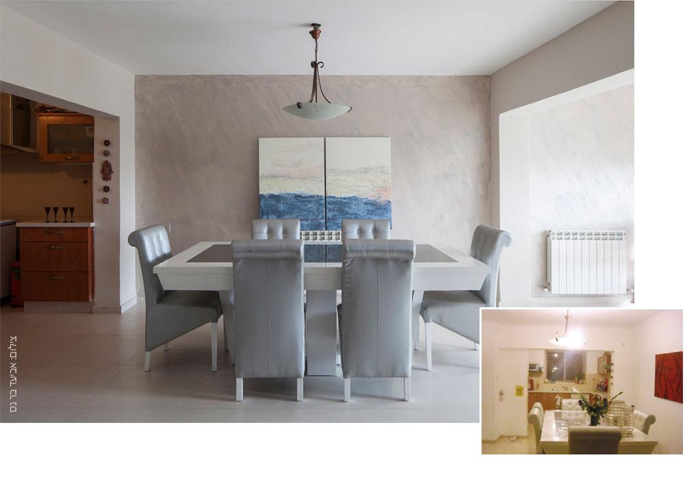 הקיר של שרית שמעוני אחרי הצביעה והוספת הציור מעשה ידיה (למטה מימין: המצב המקורי). טקסטורה מיוחדת משתנה בהתאם לזווית שבה מביטים