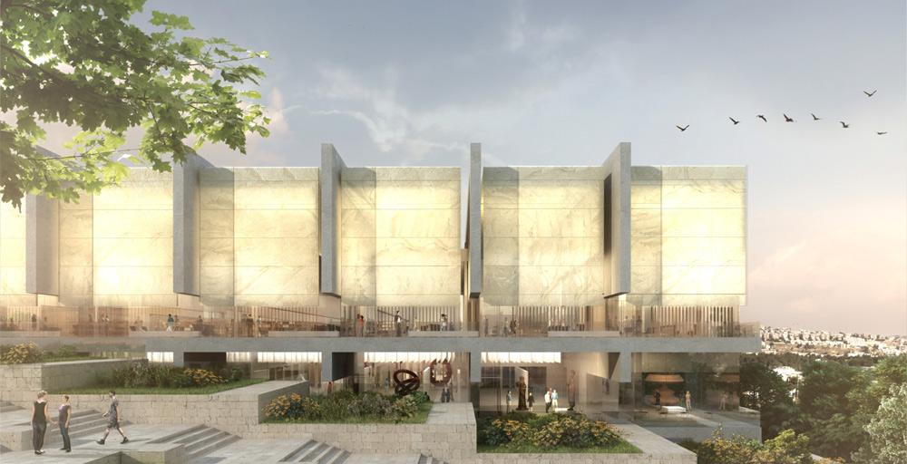 ההצעה של אבן צור אדריכלים: ללא כניסה דרמטית, ומתוך התחשבות בדרכים השונות שבהן מגיעים אנשים לספרייה. חזות ''נייטרלית ואסתטית'' (באדיבות גיל אבן צור אדריכלים)