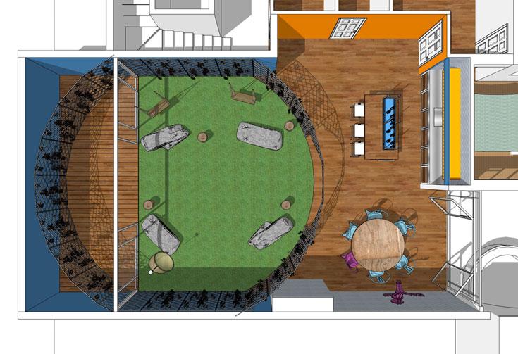 סקיצה של חלל הסלון, המטבח ופינת האוכל. עיגול קטום שמגדיר את הסלון, חלקו בפנים וחלקו בחוץ (שרטוט: שני רינג)