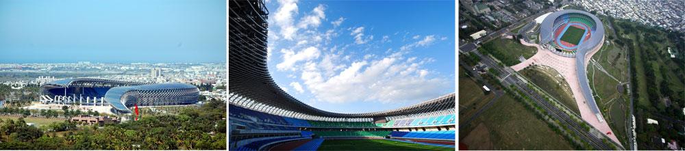 אצטדיון בטאיוואן, שהוא גם יצרן אנרגיה אדיר: 8,844 תאים פוטו-וולטאיים מותקנים עליו, ואילו הצופים זוכים להגנה מרבית מקרינת השמש בזכות השיפועים והצבת המבנה (צילום: Fu Tsu Construction Co. Ltd)
