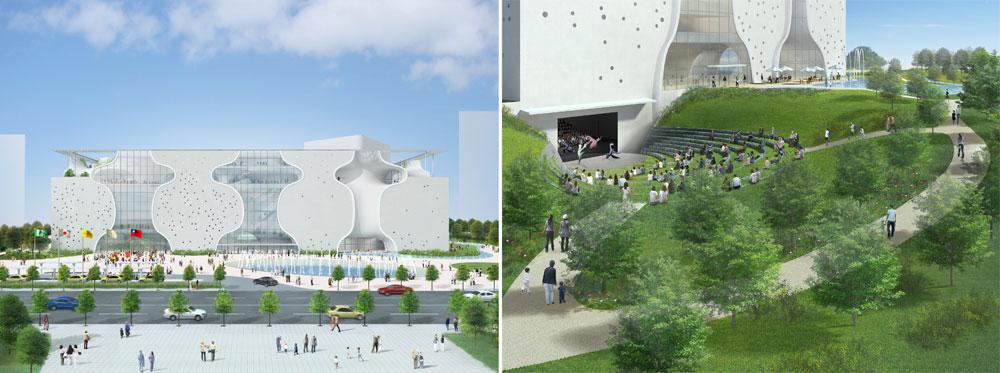פרויקט גרנדיוזי עכשווי בטאיוואן: האופרה של טאיצ'ונג. ''משלב חדשנות רעיונית עם בניינים ורמת ביצוע גבוהה'', פסק חבר השופטים (הדמיה: kuramochi , oguma )