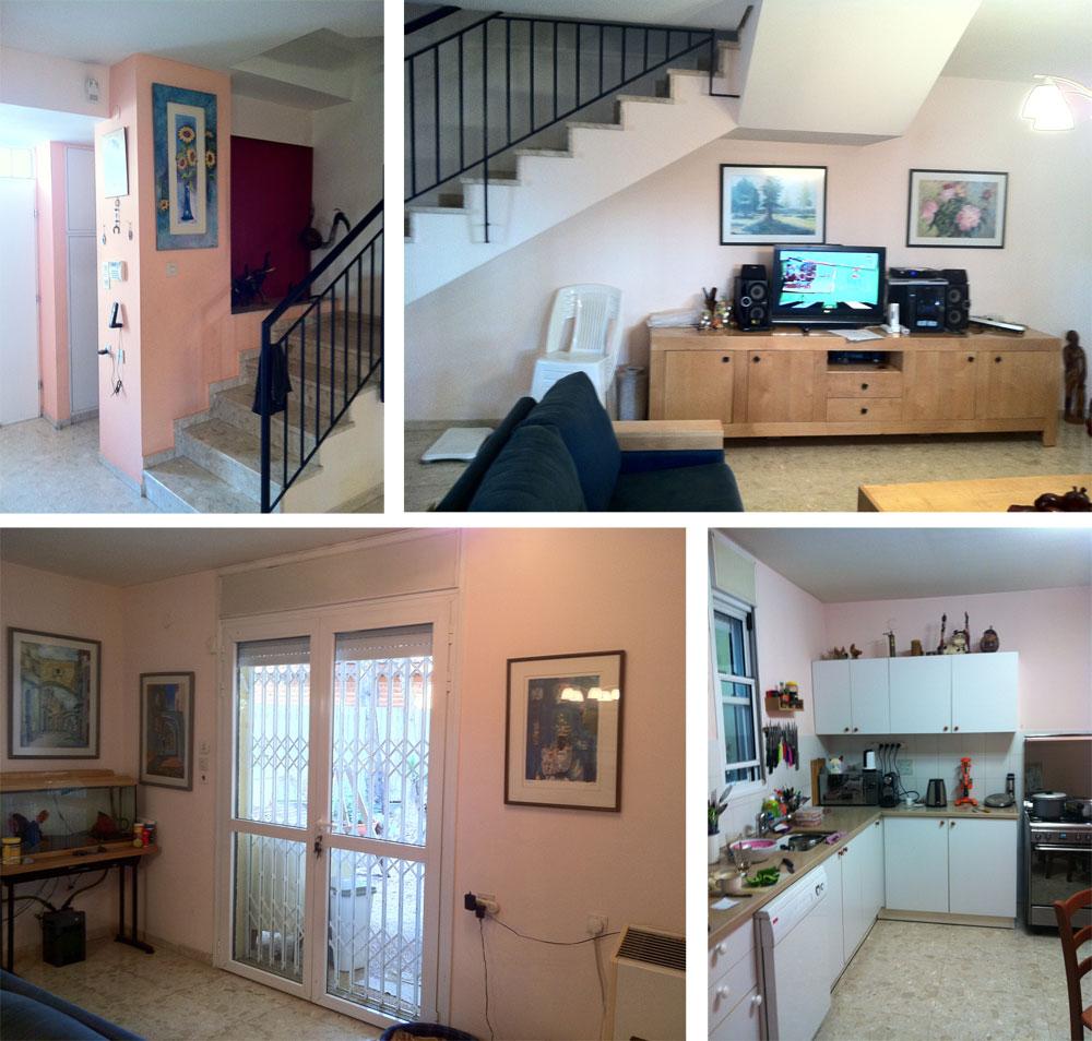 תמונות מקומת הכניסה, ''לפני'': למעלה גרם המדרגות והקיר המרכזי, נטול החלונות, שבסלון. למטה משמאל - דלתות היציאה הקטנות לחצר, ומימין - המטבח, שנדחס לתוך חלל זוויתי (באדיבות פנינית שרת-אזולאי)