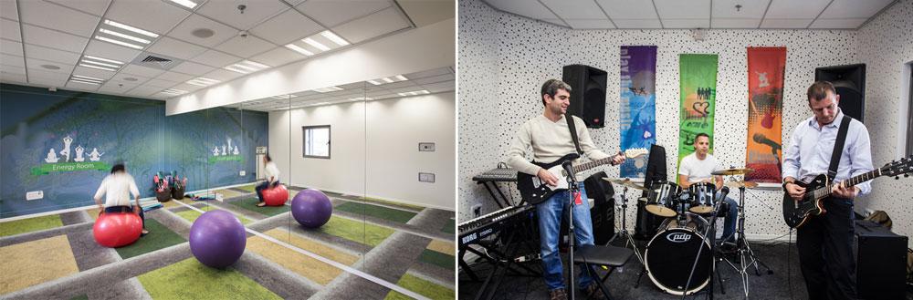 מימין: חזרה בחדר המוזיקה (על הגיטרה מימין, המנכ''ל יובל מטלון). משמאל: חדר היוגה, או בשמו המקומי Energy room (צילום: טל ניסים)