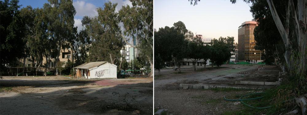 מימין אפשר לראות את עצי האקליפטוס במגרש הישן, שעברו שימור ומעניקים מראה מסורתי לגן. משמאל, המבנה שהושאר כדי לשמש מחסן וכדי להקרין עליו סרטי קולנוע (צילום: רם איזנברג)