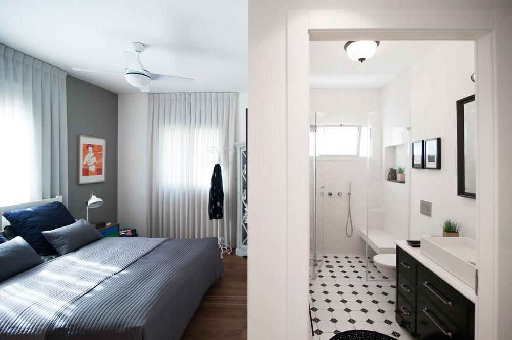 חדר הרחצה של ההורים רוצף באריחים לבנים עם קוביות שחורות. קירות המקלחון, שבו נבנה ספסל ''מרחף'', לבנים, וארון הכיור עוצב בסגנון בראסרי ונצבע בשחור (צילום: גלעד רדט)