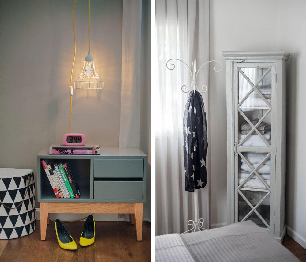 בפינת החדר ארון ויטרינה ישן שנצבע באפור והוסב לטובת אחסון מצעים (צילום: גלעד רדט)