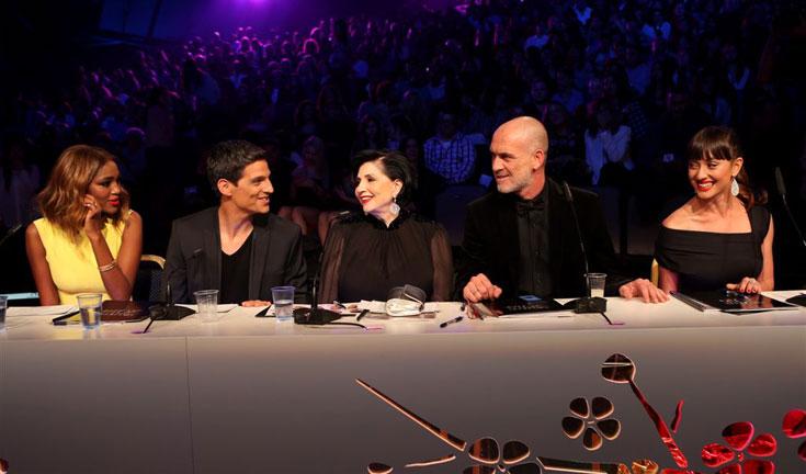 צוות השופטים: אנה ארונוב, מוטי רייף, מימי נופך מוזס, יונתן וגמן, טיטי איינאו (צילום: אלעד גרשגורן)