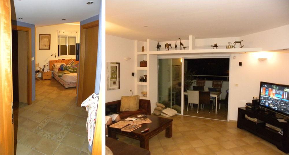 ''לפני': דירה טיפוסית לשנות ה-90 – מלאה בפינות קטומות, בנישות ובתקרות גבס מונמכות. מימין: הסלון. משמאל: מבט אל המסדרון ודלתות חדרי השינה