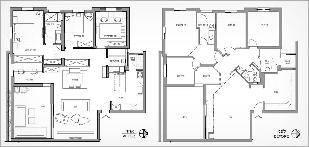 תוכנית הדירה ''לפני'' (מימין) ואחרי. הקווים האלכסוניים והזוויות בוטלו, בעיקר באזור המסדרון ודלתות החדרים. שירותי האורחים בוטלו ואוחדו עם חדר הרחצה של הילדות, החלטה שאיפשרה ליצור בין חדרי השינה מסדרון ישר ועתיר בארונות קיר נוחים. הכניסה למרפסת השירות הועברה למטבח ומה שהיה קודם חדר ארונות הפך לפינת העבודה (תכנית: פנינית שרת אזולאי – עיצוב ואדריכלות פנים)