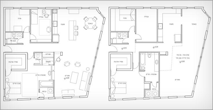 תוכנית הדירה לפני (מימין) ואחרי: הקיר בין המטבח לפינת האוכל הוסר וחדר הרחצה של ההורים תוכנן מחדש (תכנית: נגה פאוסט)