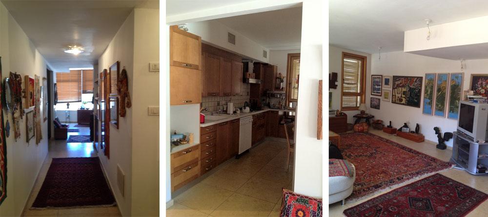 הדירה, ''לפני'': רצפת אבן, תקרות מונמכות ומטבח שנראה מיושן, למרות שהוא רק בן 18 שנה (צילום: נגה פאוסט)