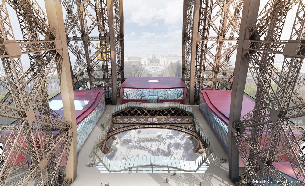 הקומה הראשונה של מגדל אייפל, החל מאוגוסט הקרוב: שני ביתנים חדשים, והביתן השלישי ששופץ (באדיבות Moatti-Rivière architectes)