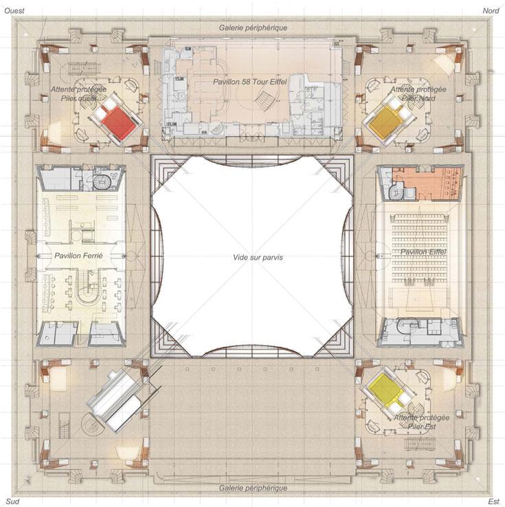 תוכנית הקומה, עם שלושת הביתנים: אייפל (מימין), המסעדה (למעלה) ופרייה (משמאל) (באדיבות Moatti-Rivière architectes)