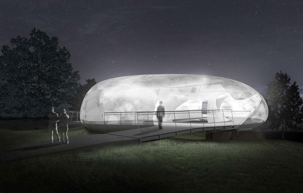 כך זה ייראה בלילה: המבנה יואר מבפנים, קליפת הפיברגלס תתגלה כחומר שקוף, והביתן יהפוך לגוף תאורה שיפזר אור רך  (הדמיה: Smiljan Radic)