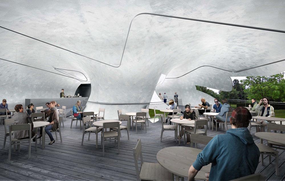 """במבנה, שיתפרס על 350 מ""""ר, ייפתח בית קפה קטן ויפוזרו שולחנות וכיסאות עץ. ייערכו גם אירועי תרבות ומיצגים של אמנים צעירים. בשנה שעברה נשבר שיא המבקרים באתר (הדמיה: Smiljan Radic)"""