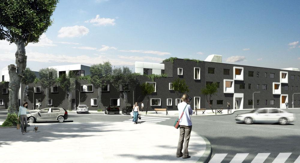 פרויקט דיור בר השגה בעיירה הצרפתית Beuvrages על גבול בלגיה. העדפה ברורה לתזוזה הבריטית על פני הסטגנציה הצרפתית (הדמיה: RARE architecture)