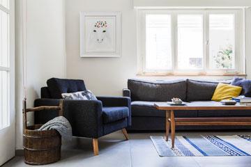 אפורים וכחולים בסלון (צילום: איתי בנית)