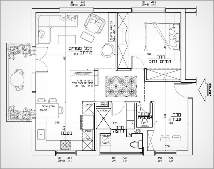 תוכנית הדירה בשלב הבא שלה: החדרון יבוטל לטובת סלון וחדר שינה גדולים יותר וחדר הבן יהפוך לחדר עבודה, לאחר שהקיר המפריד בינו לבין המבואה יוסר. הארון בחדר הזה יבוטל לטובת שירותי אורחים (תכנית: ליאת עברון)