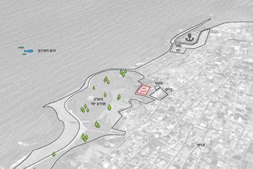 מיקום האולם בפארק מדרון יפו (תכנון: חן אדריכלים)