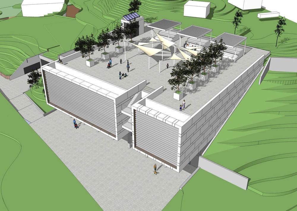 הצעה לעיצוב חצר הגג, עם מתקני משחק, אזורי ישיבה מוצלים וגינון. החצר עצמה קטנה מכדי שתוכל לספק את כל אלה (הדמיה: חן אדריכלים)