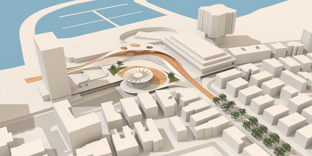 הצעתם של האדריכלים אופיר צרפתי וברק הררי, שהוגשה לתחרות. כמו כל שאר המשתתפים, הם גילו בדיעבד שאין תחרות (תכנון: אדריכלים אופיר צרפתי וברק הררי)