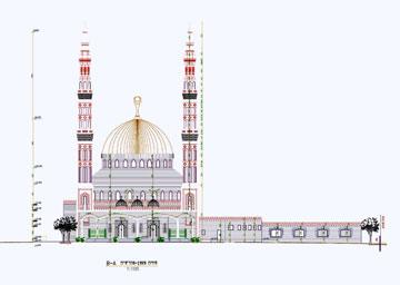 אחת הפאות של המסגד וצריחיו (תכנון: קטאוי חוסני)
