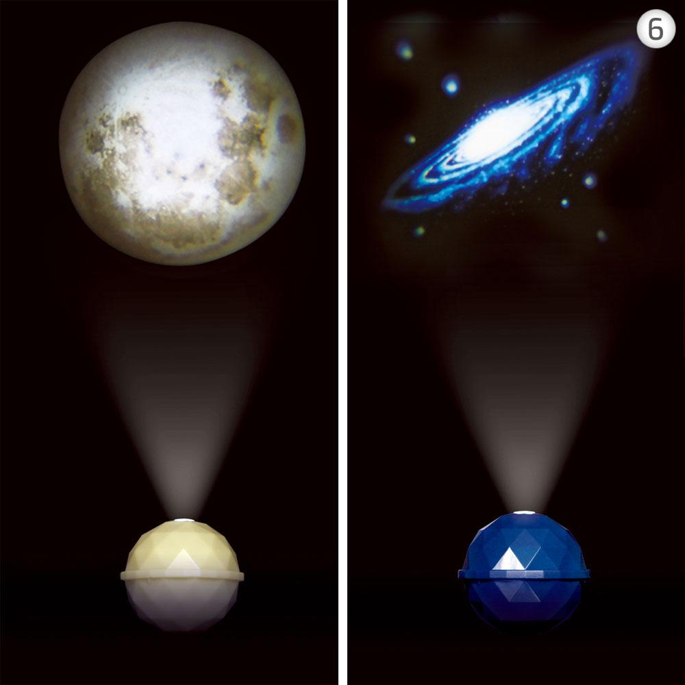 6. לנרגעים: Projector Dome, מנורות הלילה של החברה היפנית ''דרימס'', מקרינות תמונות גלקטיות שלוות על התקרה או על קירות החדר. מתאים לחדר השינה, מקסים בחדר הילדים ומקורי בחדר הרחצה. לבחירה שישה דגמים, ביניהם כדור הארץ, הירח ושביל החלב. 59 שקל, ''שינזי קאטו'' (צילום: דרימס יפן)