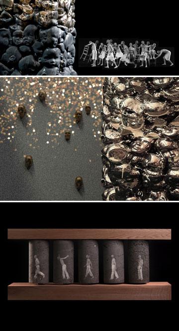 """עבודות מהתערוכה """"תור הזהב"""" של סמי די ורונן שהרבני (צילום: ירון עייני, איליה מרקוס ותום אבירם)"""