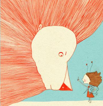 """איור של נעמה בנזימן מתוך התערוכה """"דמות הילד באיור ספרי ילדים עכשוויים"""" (איור: נעמה בנזימן)"""