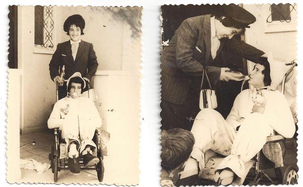 מי ראה תינוקת עם אודם? אסנת (בעגלה) וחברתה שושי מחופשות לאמא ותינוקת