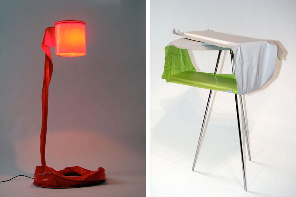 """ארונית עטופה בטפט פי-וי-סי (מימין) ומנורה עטופה במדבקה אדומה (משמאל), מתוך """"סיפור כיסוי"""", גלריה פרדיגמה, 2011 (באדיבות גלית שבו וגלריה פרדיגמה)"""