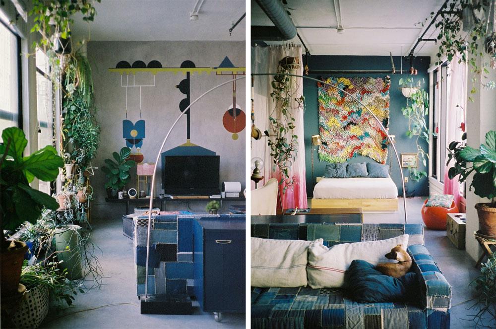 עציצים כחלק בלתי נפרד מהעיצוב בלופט בלוס אנג'לס: מבט לכיוון המיטה (מימין) וממנה (משמאל). צילום:  Dabito (באדיבות OLD BRAND NEW)