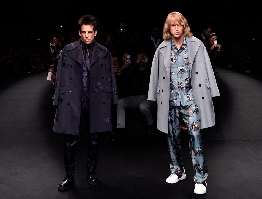 זולנדר לא יוצא מהאופנה. אוון ווילסון ובן סטילר מפתיעים על המסלול של ולנטינו (צילום: gettyimages)