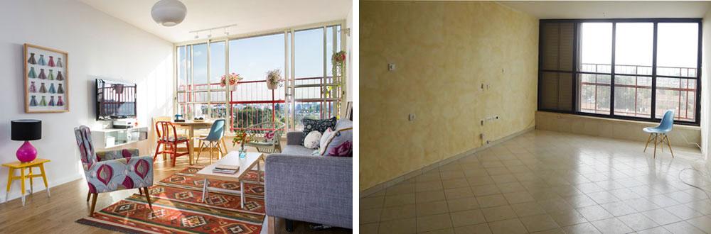 """מימין: הסלון """"לפני"""". משמאל: """"אחרי"""". הקירות נצבעו בגוון אפרפר, הרצפה חופתה בפרקט עץ אלון, והחלון מוסגר באלומיניום דמוי בלגי בגוון בהיר. את הצבע מכניסים הפריטים (צילום: שירן כרמל)"""