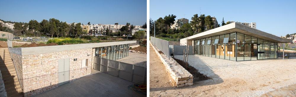 ביתן הכניסה החדש, שתכנן משרד האדריכלים ויינשטיין-ועדיה. תוך שימוש במרכיבים ''ירושלמיים'', הוא יציע בית קפה והתארגנות לדרך (צילום: דור נבו )